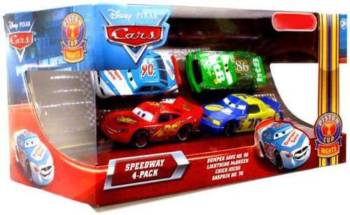 Disney / Pixar Cars Multi-Packs Speedway 4-Pack Exclusive Diecast Car Set [Bumper Save]