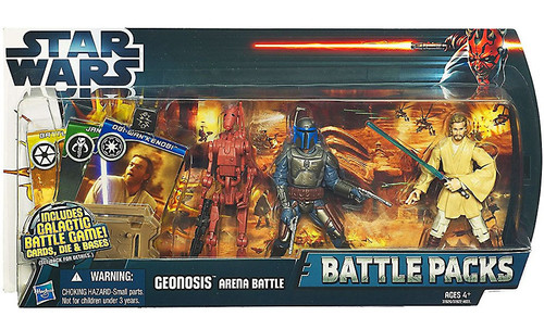 Star Wars Attack of the Clones 2012 Battle Pack Geonosis Arena Battle Action Figure 3-Pack [Battle Droid, Jango Fett & Obi Wan Kenobi]