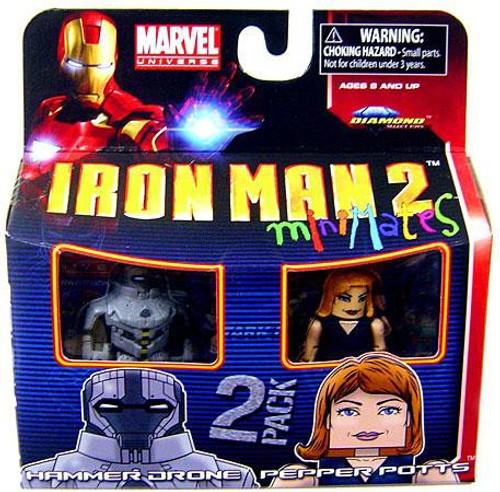 Marvel Iron Man 2 Minimates Series 35 Hammer Drone & Pepper Potts Minifigure 2-Pack