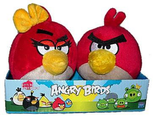 Angry Birds Red Angry Girl & Boy 4-Inch Plush 2-Pack