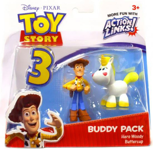 Toy Story 3 Action Links Buddy Pack Hero Woody & Buttercup Mini Figure 2-Pack