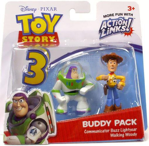 Toy Story 3 Action Links Buddy Pack Communicator Buzz Lightyear & Walking Woody Mini Figure 2-Pack