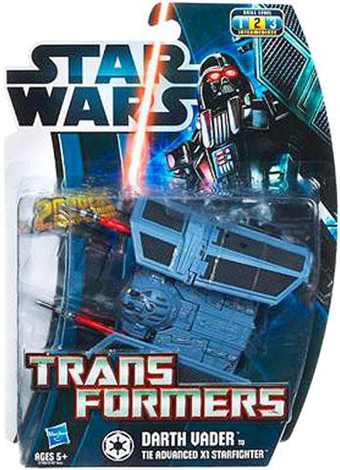 Star Wars A New Hope Transformers 2012 Darth Vader to Tie Advanced X1 Starfighter Action Figure