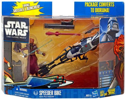 Star Wars The Clone Wars 2010 Speeder Bike with Plo Koon Action Figure & Vehicle