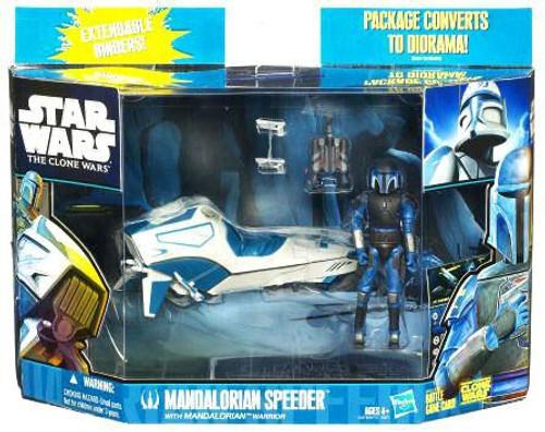 Star Wars The Clone Wars 2010 Mandalorian Speeder with Mandalorian Warrior Action Figure & Vehicle