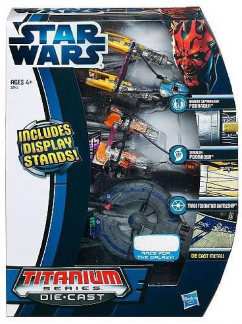 Star Wars Phantom Menace Titanium Series 2012 Episode I Exclusive Diecast Vehicle Set