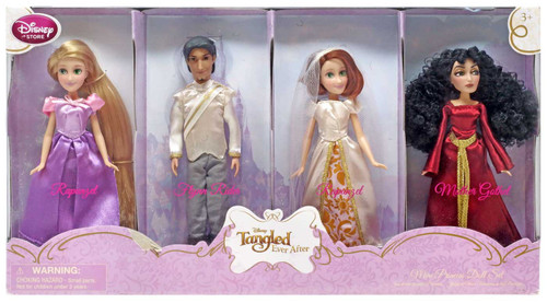 Disney Tangled Ever After Flynn Rider, Mother Gothel & 2x Rapunzel Exclusive Doll 4-Pack Set