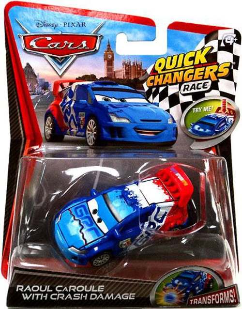 Disney / Pixar Cars Cars 2 Quick Changers Race Raoul Caroule with Crash Damage Diecast Car