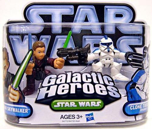 Star Wars Attack of the Clones Galactic Heroes 2010 Anakin Skywalker & Clone Trooper [Blue Trim] Mini Figure 2-Pack