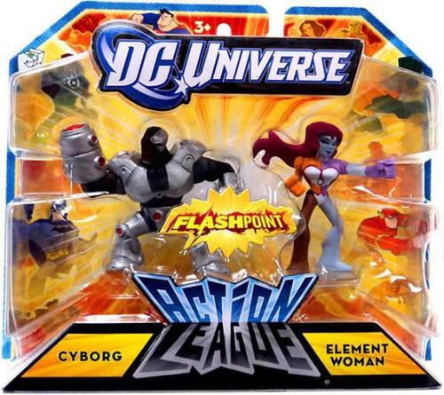 DC Universe Flashpoint Action League Cyborg & Element Woman 3-Inch Mini Figures