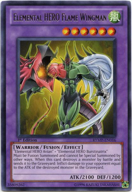 YuGiOh GX Trading Card Game Ra Yellow Mega Pack Rare Elemental HERO Flame Wingman RYMP-EN016