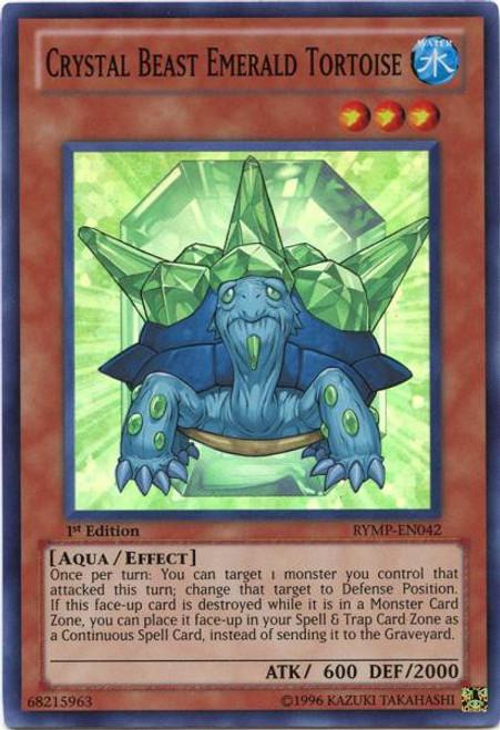 YuGiOh GX Trading Card Game Ra Yellow Mega Pack Super Rare Crystal Beast Emerald Tortoise RYMP-EN042