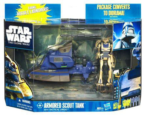 Star Wars The Clone Wars 2010 Armored Scout Tank with Tactical Droid Action Figure & Vehicle