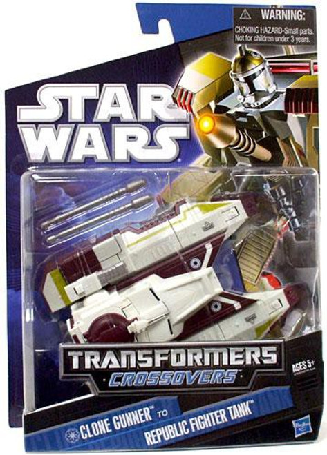 Star Wars The Clone Wars 2010 Transformers Crossovers Clone Gunner to Republic Fighter Tank Action Figure