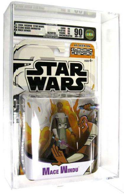 Star Wars The Clone Wars Cartoon Network Mace Windu Action Figure [AFA 90] [AFA Graded 90]
