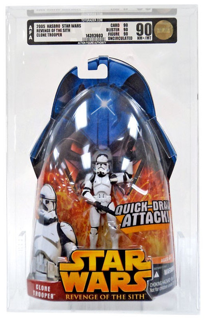 Star Wars Revenge of the Sith 2005 Clone Trooper Action Figure [Quick Draw Attack, AFA 90] [AFA Graded 90]