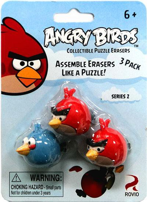 Collectible Puzzle Erasers Series 2 Angry Birds Eraser 3-Pack [2 Red & 1 Blue]