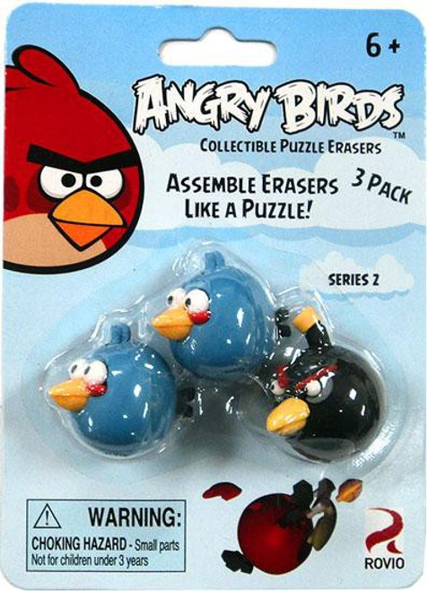 Collectible Puzzle Erasers Series 2 Angry Birds Eraser 3-Pack [2 Blue & 1 Black]