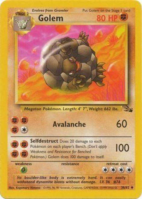 Pokemon Fossil Uncommon Golem #36