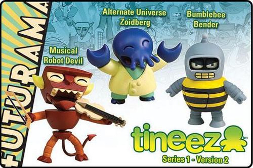 Futurama Tineez Series 1 Musical Robot Devil, Alternate Universe Zoidberg & Bumblebee Bender Mini Figure 3-Pack