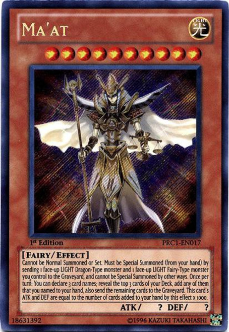 YuGiOh 2012 Premium Collector Tin Secret Rare Ma'at PRC1-EN017