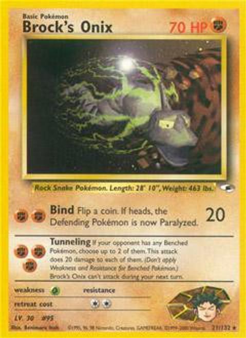 Pokemon Gym Heroes Rare Brock's Onix #21