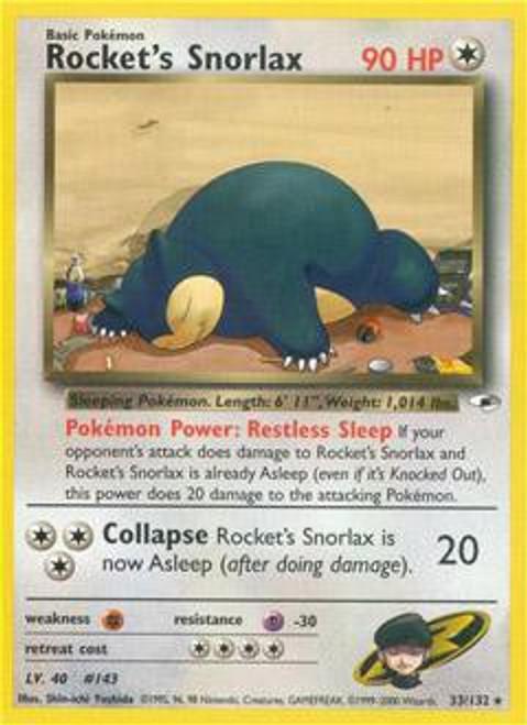 Pokemon Gym Heroes Rare Rocket's Snorlax #33