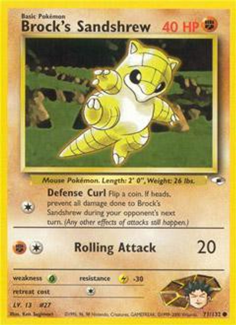 Pokemon Gym Heroes Common Brock's Sandshrew #71