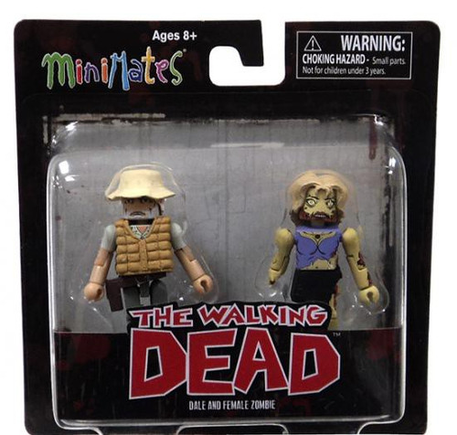 The Walking Dead Minimates Series 1 Brown Vest Dale & Female Zombie Minifigure 2-Pack