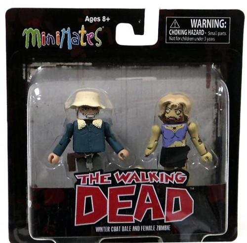 The Walking Dead Minimates Series 1 Winter Coat Dale & Female Zombie Minifigure 2-Pack