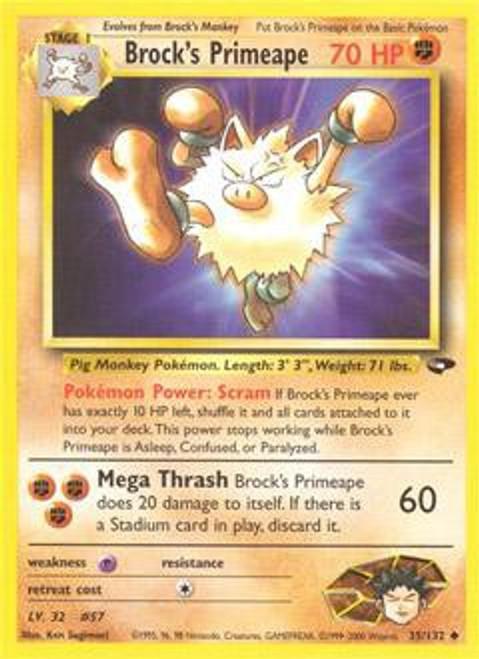 Pokemon Gym Challenge Uncommon Brock's Primeape #35
