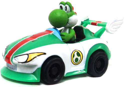 Super Mario Mario Kart Gacha Yoshi in Car 1.5-Inch Pull Back Racer