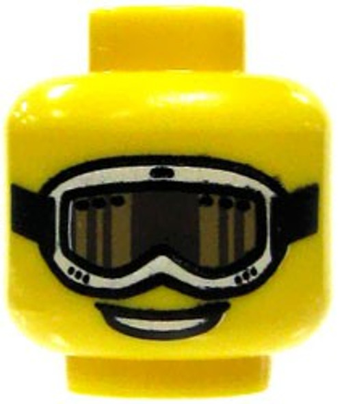 White Rimmed Goggles, Brown Lenses & Smile Minifigure Head [Yellow Loose]