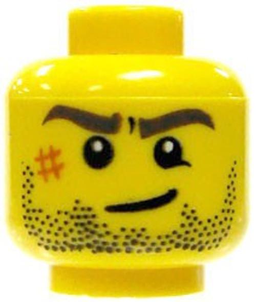 Stubble Beard, Sneer & Abbrassion on Right Cheek Minifigure Head [Yellow Loose]