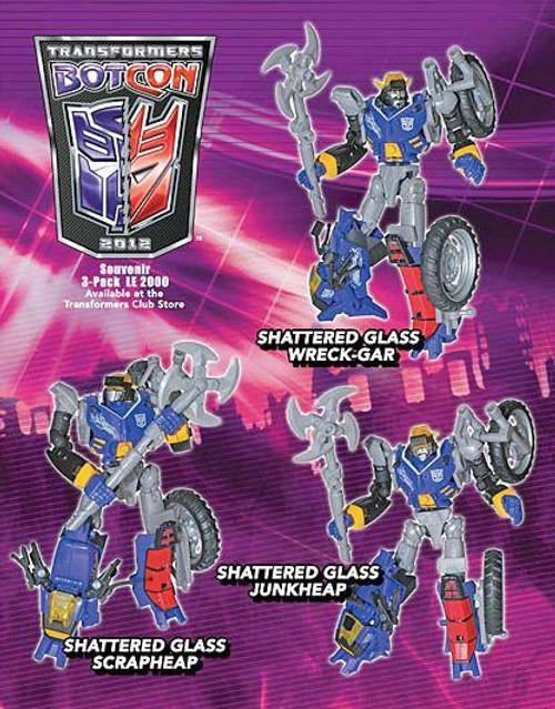 Transformers Botcon Exclusives Shattered Glass Wreck-Gar, Junkheap & Scrapheap Exclusive Action Figure 3-Pack
