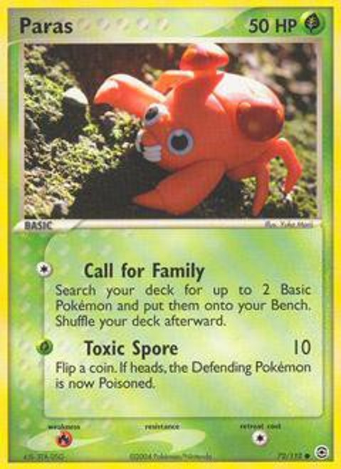 Pokemon EX Fire Red & Leaf Green Common Paras #72
