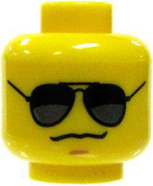 Black and Silver Sunglasses & Grim Look with Chin Dimple Minifigure Head [Yellow Loose]