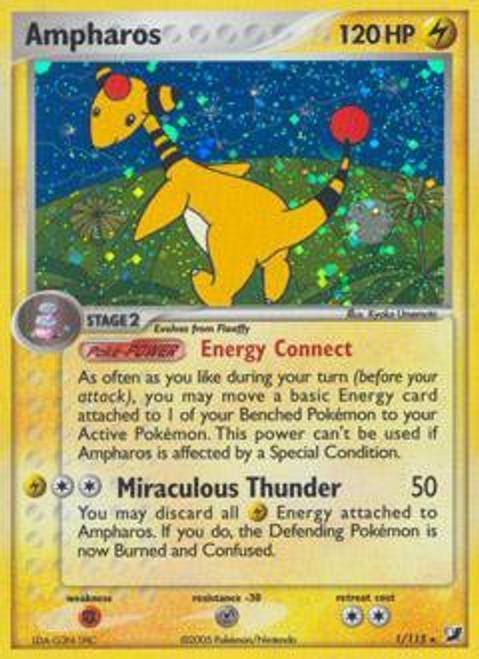 Pokemon EX Unseen Forces Rare Holo Ampharos #1