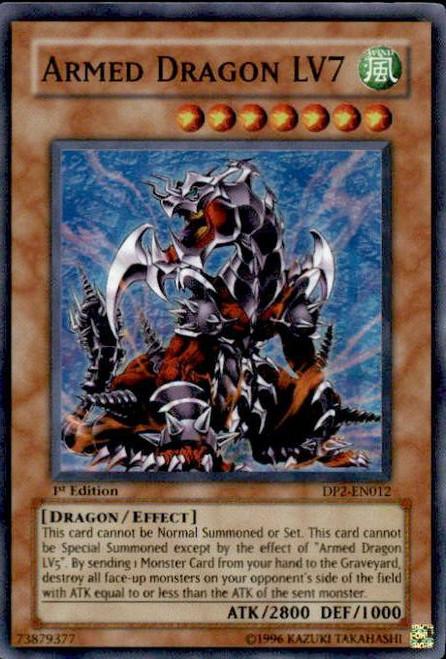 YuGiOh GX Trading Card Game Duelist Pack Chazz Super Rare Armed Dragon LV7 DP2-EN012