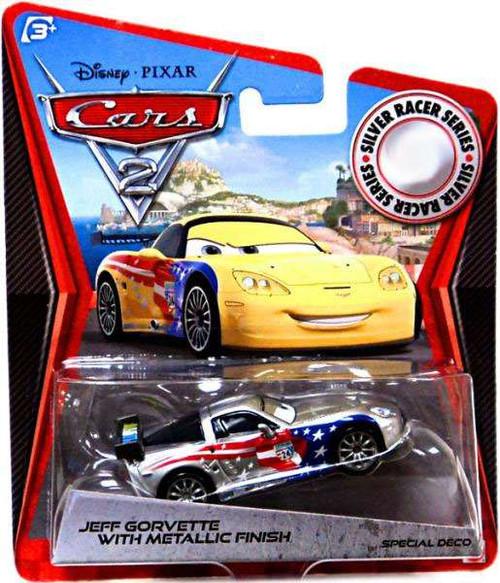 Disney / Pixar Cars Cars 2 Silver Racer Series Jeff Gorvette with Metallic Finish Exclusive Diecast Car
