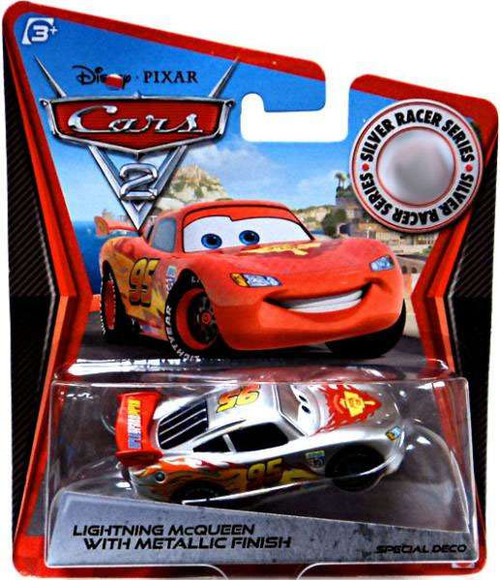 Disney / Pixar Cars Cars 2 Silver Racer Series Lightning McQueen with Metallic Finish Exclusive Diecast Car
