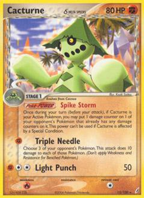 Pokemon EX Crystal Guardians Rare Cacturne (Delta Species) #15