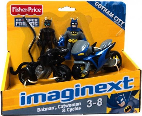 Fisher Price DC Super Friends Imaginext Gotham City Batman, Catwoman & Cycles Exclusive 3-Inch Figure Set [RANDOM Package!]