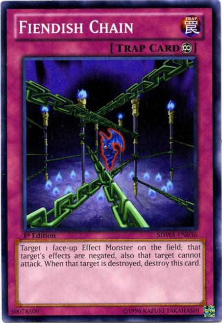 YuGiOh Trading Card Game Samurai Warlords Structure Deck Common Fiendish Chain SDWA-EN036