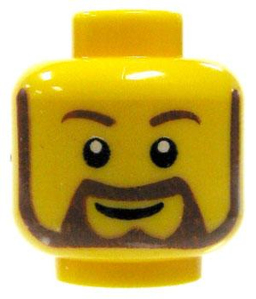 Brown Beard & Smile Minifigure Head [Yellow Loose]