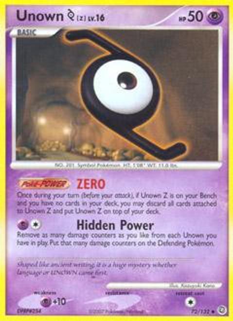 Pokemon Diamond & Pearl Secret Wonders Uncommon Unown Z #72