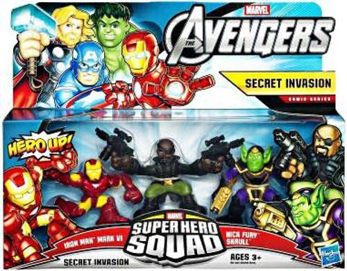 Marvel Avengers Super Hero Squad Secret Invasion Figure 3-Pack [Iron Man Mark VI, Nick Fury & Skrull]