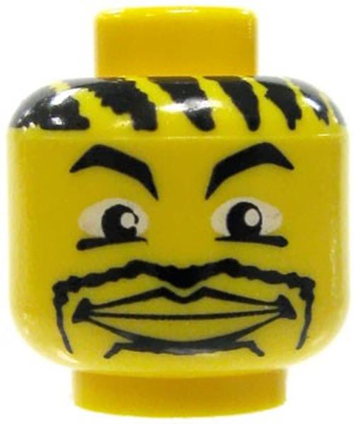 Corn Rows, Goatee & Large Lips Smile Minifigure Head [Yellow Loose]