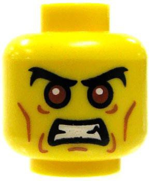 Angry Red Eyes, Baring Teeth Minifigure Head [Yellow Loose]