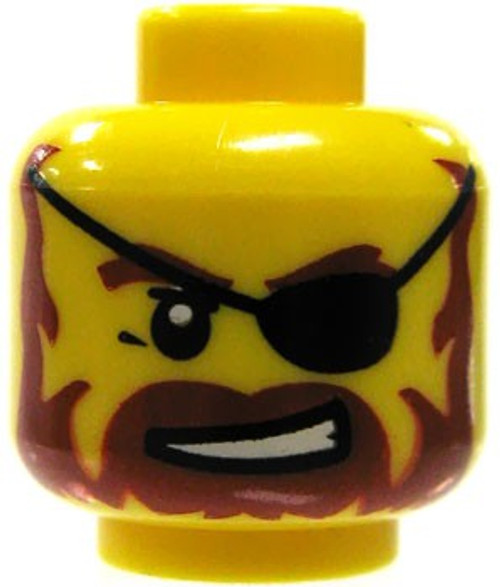 Red Beard & Eyepatch Minifigure Head [Yellow Loose]